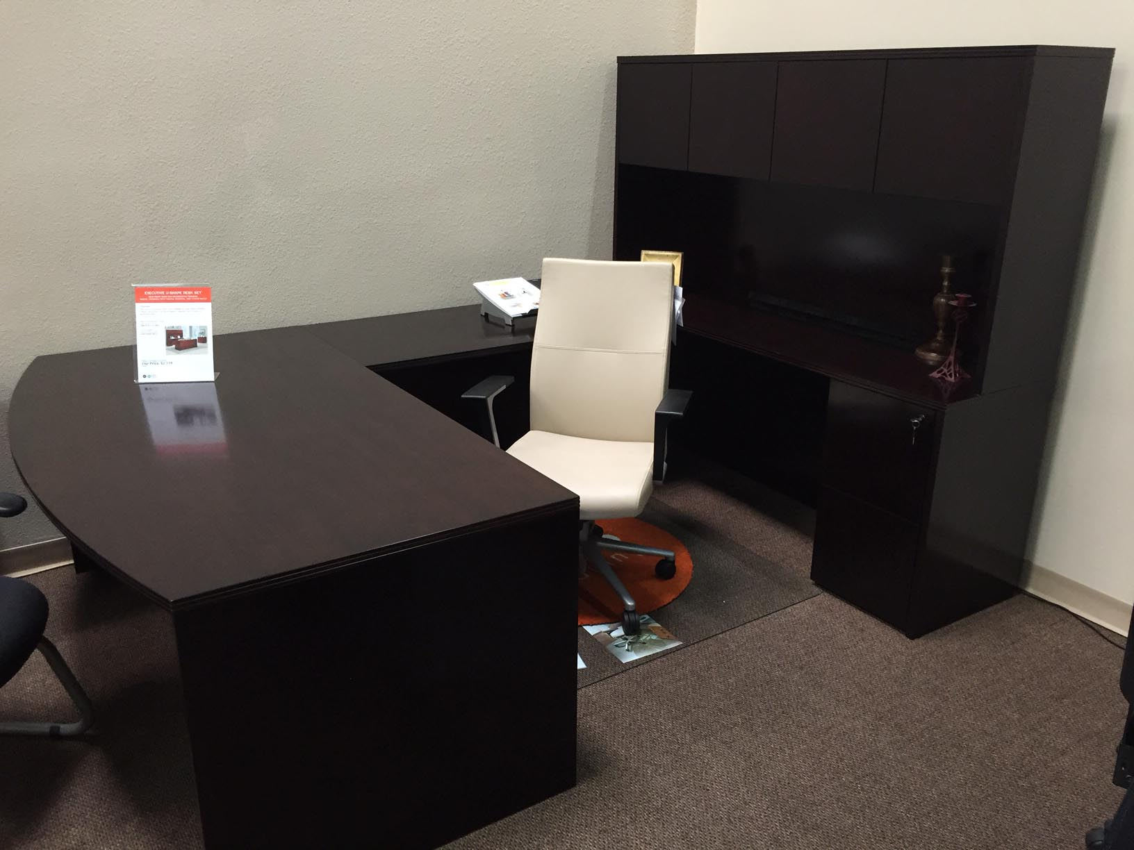 Bow Front Desk With Right Return Credenza And 4 Door Hutch