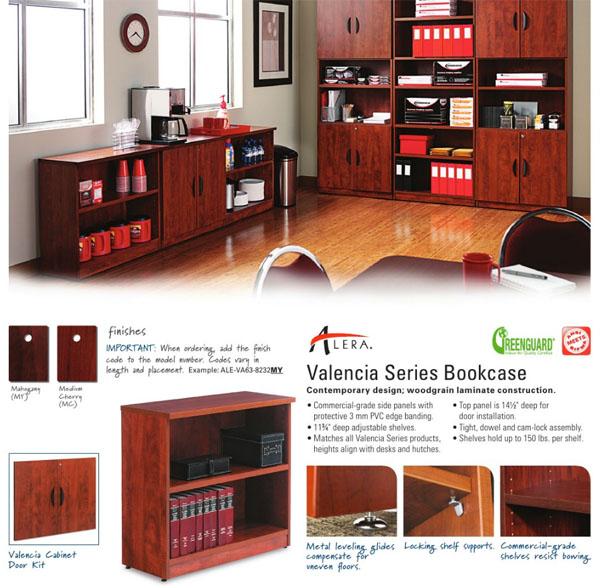 Basyx Laminated Five Shelf Bookcase With Three Adjule Shelves